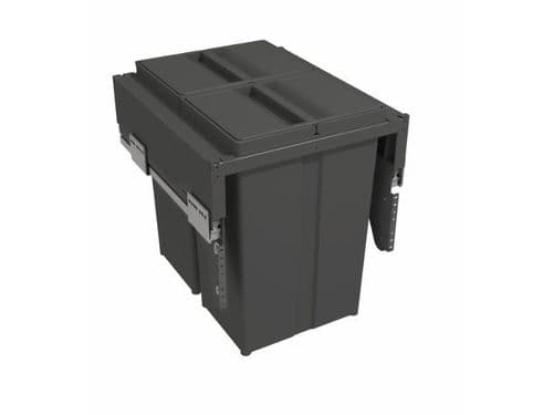 Pull-out waste bin with plastic lid, 2 x 29 litre bins, for 450mm cabinet, Orion Grey